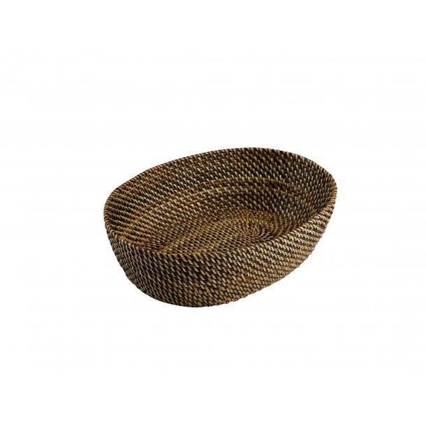 Brødkurv lys/mørk brun oval 20 cm.
