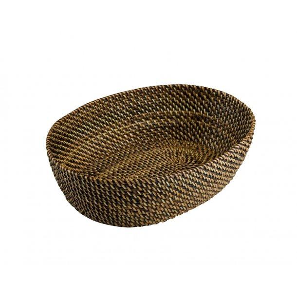 Brødkurv lys/mørk brun oval 29,5 cm.