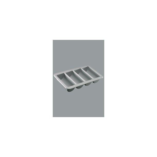 Bestikkasse 4 rum grå plast 53,0x32,5 cm