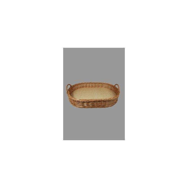 Brødkurv oval m/ træbund rødpil 52x37 cm