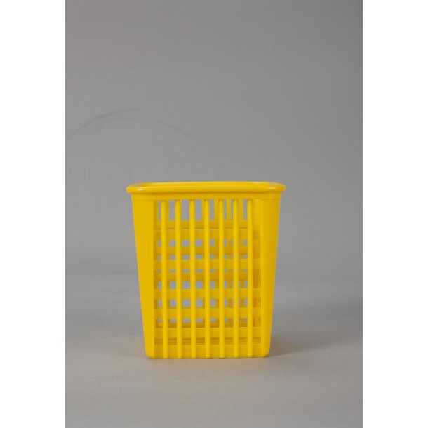 Bestikbøtte firkant gul plast 12x12 cm.