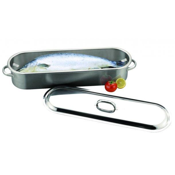 Fiskekedel med rist RF stål 60,0x12,0 cm