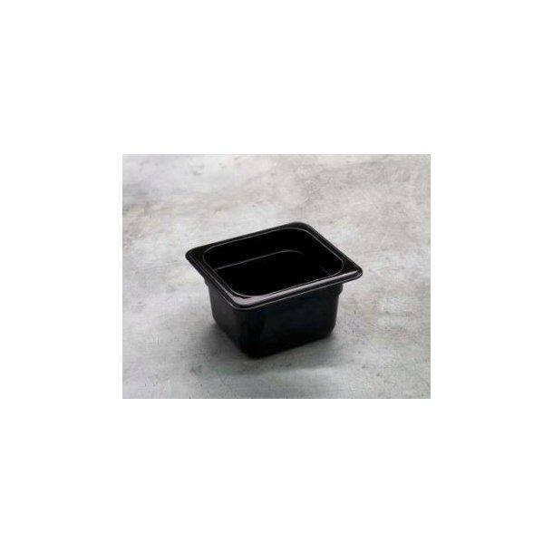 Kantine sort polycarbonat 1/6 GN x 100mm
