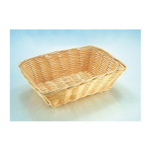 Brødkurv natur plast 30x22x7 cm. Polypropylen - Stabelbar