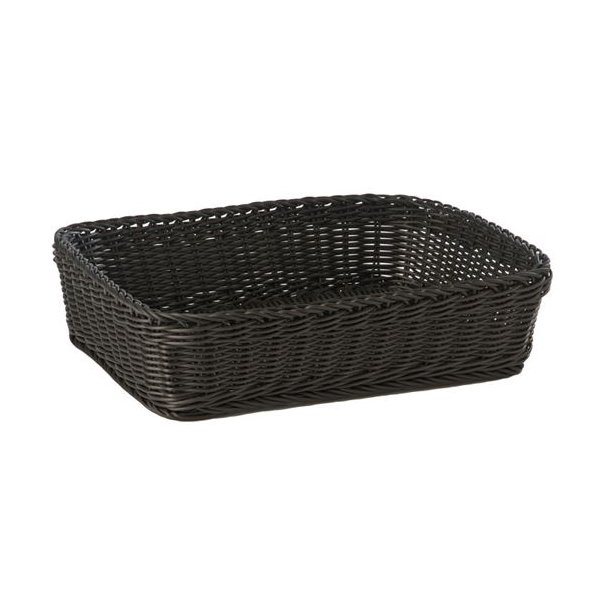 Brødkurv plast sort rekt. 40x30x10 cm. Polypropylen