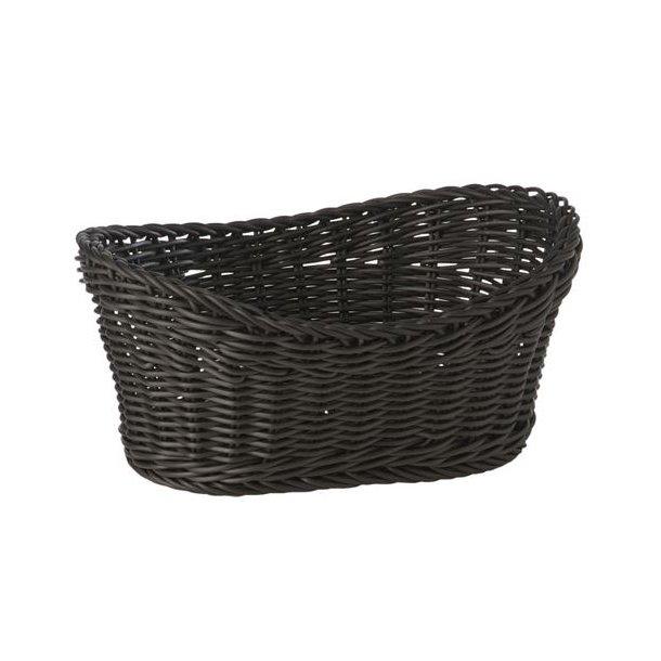 Brødkurv plast oval sort 29,5x20,5x13 cm