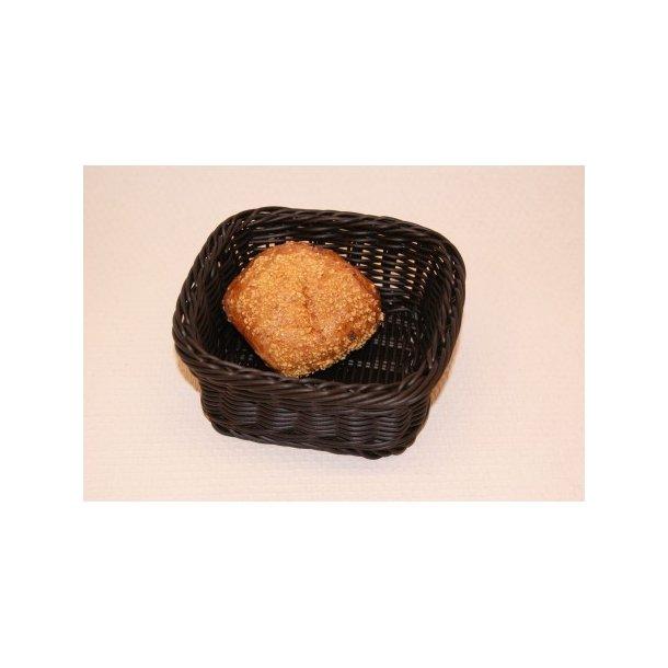 Brødkurv sort plast 16x16 cm.
